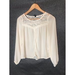 Cream long sleeve blouse with lace detail